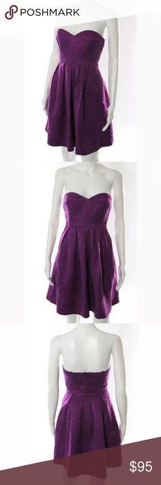 Rebecca Taylor Strapless Purple Cocktail Dress