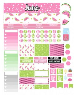 Printable Planner Stickers June Monthly Kit  Month Spread View