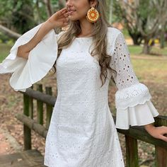 Image may contain: 2 people, people standing and outdoor White Boho Dress, Little White Dresses, Cute Fashion, Fashion Outfits, Short Frocks, Short Lace Dress, Batik Dress, Cardigan Fashion, Simple Dresses