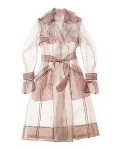 Stylish Women Slim Organza Belted Trench Coat