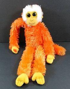 "18"" Orange Hanging MONKEY Floppy Plush Velcro Aurora Stuffed Toy B222"