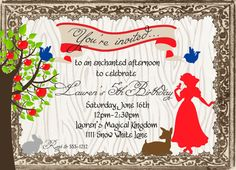 I just love the Princess in the enchanted forest theme!, so cute for a Florida girl since we live so close to the Mouse House. Picnic Birthday, Birthday Parties, 7th Birthday, Printable Invitations, Party Printables, Snow White Wedding, Snow White Birthday, White Bridal Shower, Woodland Party