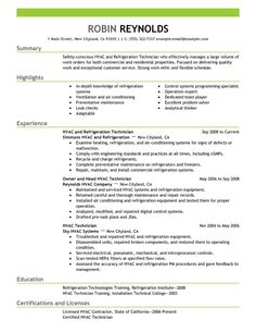 1000+ images about HVAC Technician Resumes on Pinterest | Resume ...