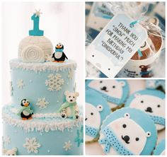 Winter ONEderland Birthday Party — those polar bear cookies are so darn cute! First Birthday Winter, Boys First Birthday Party Ideas, Winter Wonderland Birthday, Winter Birthday Parties, Baby Boy 1st Birthday, Winter Parties, Wonderland Party, Winter Onederland, Winter Onderland Cake