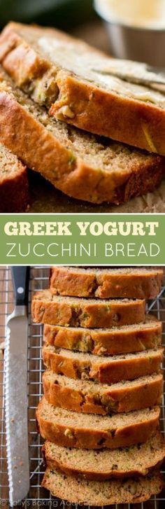 Greek Yogurt Zucchini Bread Recipe via Sally's Baking Addiction - Super simple, easy, healthy, and moist Greek yogurt zucchini bread!