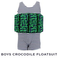 We've teamed a timeless nautical stripe with our exclusive crocodile print to create this practical yet stylish, quick-dry swimming aid. #sunuva