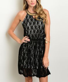 Take a look at this Black & White Lace Yoke Dress today!