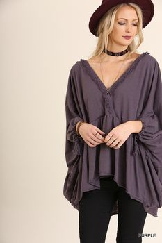 G0462 UMGEE Top with Surplice Neckline Detailed with Lace featuring Bishop Sleeves