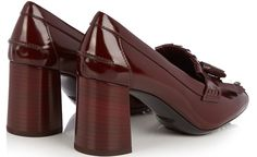 "Tod's ""Gomma"" Fringed Patent Leather Pumps"