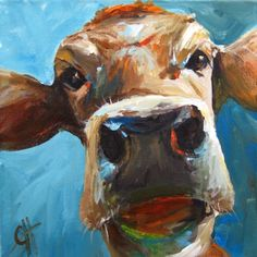 I want a silly cow in my kitchen! Need to find a bigger size. Cow Painting Elise the Cow 7x7 Giclee by ArtPaperGarden on Etsy, $25.50