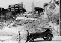 "This is San Francisco's celebrated Lombard Street while being constructed in 1922.  ""If you build it, the tour buses will come."""