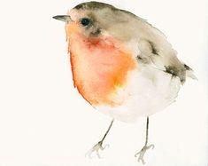Bird Art Print van originele aquarel Robin door dearpumpernickel