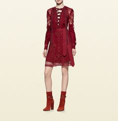 broderie anglaise cotton lace-up dress
