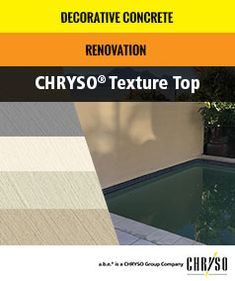 CHRYSO Texture Top is a 2 mm millimetric coating, based on a hydraulic binder, mineral filler and admixture. Excellent mechanical resistance and anti-slip coating. General Construction, Portland Cement, Decorative Concrete, Binder, Minerals, Surface, How To Apply, Texture, Top
