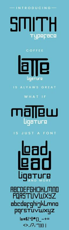 hey there, here is Smith Typeface. it's perfect for you to use on your poster design, logo, and many more. INSIDE THE ZIP FILE - TTF file - OTF file - Readme Sans Serif Fonts, Typography Fonts, Typography Design, Lettering, Font Design, Graphic Design, Modern Fonts, Cool Fonts, Font Alphabet