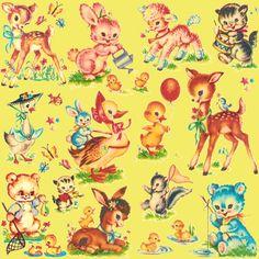 Favorite vintage Baby Animals Aqua fabric by parisbebe on Spoonflower - custom fabric Motif Vintage, Vintage Fabrics, Vintage Prints, Retro Vintage, Vintage Style, Images Vintage, Vintage Pictures, Baby Animal Nursery, Baby Animals