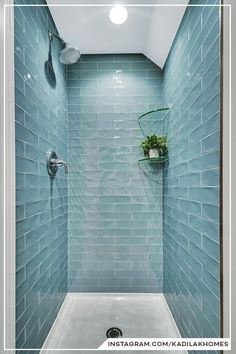 Blue Subway Tile, Master Bathroom Remodel Ideas The textured surface and calming blue color bring a relaxing vibe to this classic subway tile shower.⠀ Are you a fan of blue color subway tiles or do you prefer another color? Blue Subway Tile, Subway Tile Showers, Shower Tiles, Small Tile Shower, Subway Tile Colors, Tiled Showers, Stall Shower, Blue Glass Tile, Small Tiles