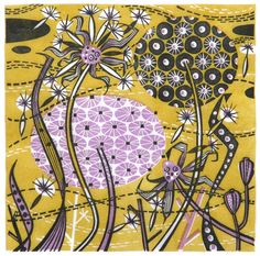 Spey Seedheads - linocut by Angie Lewin