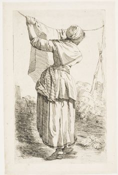 Woman Hanging out Laundry from a series of 6 prints of men and women, Netherlands, c. 1790s, Philadelphia Museum of Art -