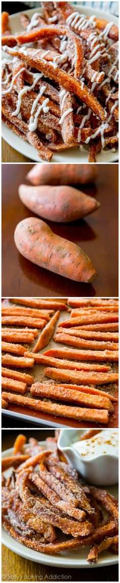 Cinnamon Sweet Potato Fries with Vanilla Icing Dip by sallysbakingaddiction #Sweet_Potato_Fries