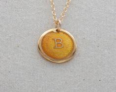 """B"" Initial Necklace Glass Enamel On 24 Karat Gold by FusedInc, $48.00 (24 colors) #jewelry #necklace #enamel"