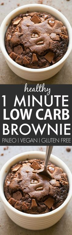 Healthy 1 Minute Low Carb Brownie- Oven option too- Moist gooey and tender on the outside it's the perfect snack dessert or treat to enjoy anytime- Packed with protein and completely sugar free and grain free! {vegan gluten free paleo recipe}- http:/ Low Carb Sweets, Low Carb Desserts, Healthy Sweets, Healthy Snacks, Carb Free Deserts, Sugar Free Deserts, Simple Snacks, Sugar Free No Bake Desserts, Sugar Free Foods