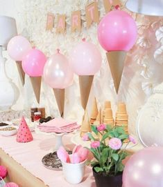 Ice cream from balls # birthday # girls so … – All Part Ideas Diy Party Decorations, Party Themes, Ballon Decorations, Party Ideas, Girl Birthday, Birthday Parties, Birthday Cake, Candy Themed Party, Ice Cream Party