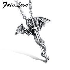 Rock  Men's Titanium 316L Stainless Steel dragon sword   Pendant mans  Necklaces top quality  never fade 937 #Affiliate