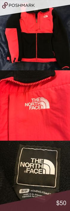 Denali North Face jacket size small This North Face is a size small and was only worn for one season. The colors are black and a bright pink/salmon color. The jacket has three pockets and is very warm. The North Face Jackets & Coats