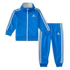 Baby Boy Adidas Blue Striped Jacket & Pants Set, Size: 18 Months, Brt Blue