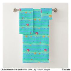 Chibi Mermaids & Seahorses towel set Seahorses, Towel Set, Bath Towels, Mermaids, Chibi, Print Design, Art Pieces, Print Layout, Artworks