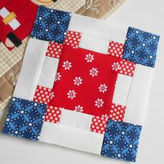 Block 15 - Cornerstones in red, white and blue (version Crisp and clear - e. - Block 15 – Cornerstones in red, white and blue (version Crisp and clear – exactly like the - Quilt Square Patterns, Patchwork Quilt Patterns, Quilt Block Patterns, Square Quilt, Pattern Blocks, Modern Quilt Blocks, Patchwork Designs, Blue Quilts, Scrappy Quilts
