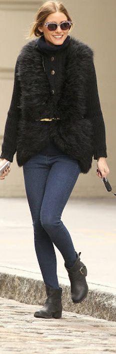Olivia Palermo: Sunglasses – Wunderkind  Vest – Haute Hippie  Shoes – Report