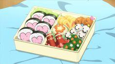 A cute bento with dango, maki, tako wiener, and tamagoyaki! Gekkan Shoujo Nozaki-kun, Episode 5