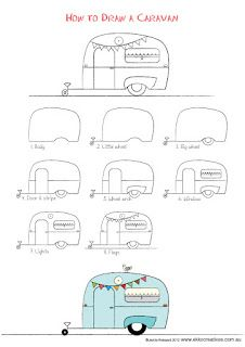 caravan Last drawing activity for the Holidays! Well our holidays anyway. A sweet little caravan to Doodle Drawings, Easy Drawings, Doodle Art, Drawing Activities, Camping Theme, Camping Signs, Camping Guide, Camping Checklist, Bullet Journal Inspiration