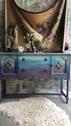 We transformed this vintage buffet using chalk paint and iod moulds to give it a magical feel layers of chalk paint for an one of a kind feel paintedfurniture bohostyle bohemianstyle creative ideas! Diy Furniture Videos, Diy Garden Furniture, Upcycled Furniture, Furniture Making, Vintage Furniture, Rustic Furniture, Sanding Furniture, Furniture Ideas, Mexican Furniture