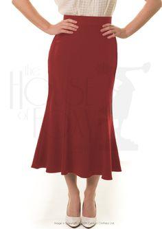 1930s flutter skirt - red