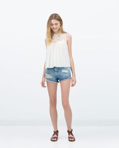Image 1 of COMBINED GUIPURE LACE TOP from Zara