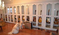 Guitar Storage, Guitar Display, Guitar Hanger, Guitar Rack, Guitar Stand, New House Music, Home Studio Music, Guitar Cabinet, Recording Studio Design