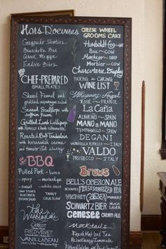 wedding day chalkboard menu