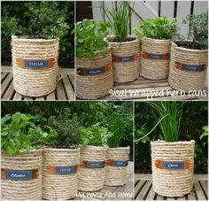 Low-budget and Easy Container Ideas For Herb Garden – HomeDesignInspired If You Have some Empty Coffee Cans, Reuse Them and Create a Sisal Wrapped Cans Garden Diy Garden, Garden Care, Garden Crafts, Herb Garden, Garden Projects, Diy Projects, Garden Ideas, Project Ideas, Coffee Can Crafts