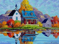 """Vladimir Horik - """" La Marre à Baie-St-Paul """" Landscape Illustration, Landscape Art, Landscape Paintings, Easy Paintings, Beautiful Paintings, Image Nature, Art Populaire, Cottage Art, Art Deco Posters"""