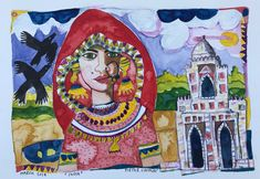 Watercolour New Delhi India 2018 Pieter Cronje Delhi India, New Delhi, Watercolour, Faces, Princess Zelda, Painting, Fictional Characters, Art, Pen And Wash