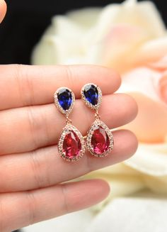 Fuchsia pink navy blue ROSE GOLD Wedding Jewelry Bridesmaid Gift Bridesmaid Jewelry Bridal Jewelry earring Drop dangle Earring,bridesmaid gift  THESE EARRINGS CAN BE MADE WITH ANY COLOR COMBO . YOU CHOOSE DIFFERENT COLOR OR SAME COLOR . MESSAGE ME AT CHECK OUT FOR THE TOP COLOR & BOTTOM COLOR YOU WANT   ►►► Materials: - Cubic Zirconia , with facets equivalent to a diamond -Top color : fuchsia pink and bottom color navy blue and rose gold Finish AS SHOW - available in 18k white gold or yel...