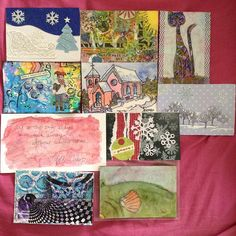 Shawsha Newcomb' writes: DIY postcards received through iHanna's swap. I got all 10! I love them. #diypostcardswap #mailart