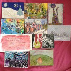 Shawsha Newcomb' writes: DIY postcards received through iHanna's swap. I got all 10! I love them. #diypostcardswap #mailart