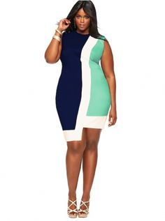"""""""Toni"""" Asymmetric Colorblock Shift Dress-Blue"""
