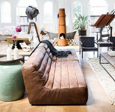 Brown leather sofa | sphere