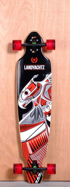 """The Landyachtz Battle Axe Longboard Complete is designed for Cruising, Carving and Freeride. Ships fully assembled and ready to skate! Function: Cruising, Carving, Freeride Features: Drop Through, Medium W Concave, Wheel Cutouts Material: 5 Ply Bamboo Length: 40"""" Width: 9"""" Wheelbase: 29.25 Thickness: 5/8"""" Hole Pattern: Old School Grip: Clear"""