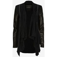 Yigal Azrouel Leather Sleeve Jersey Cardigan ($369) ❤ liked on Polyvore featuring tops, cardigans, jackets, sweaters, outerwear, black top, black surplice top, jersey tops, jersey knit tops and jersey cardigan